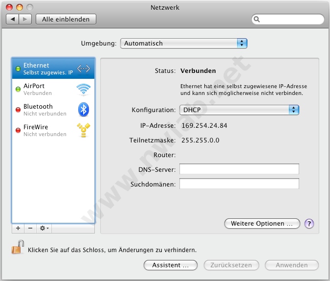 Ethernet Verbindung Am Mac Network Lab