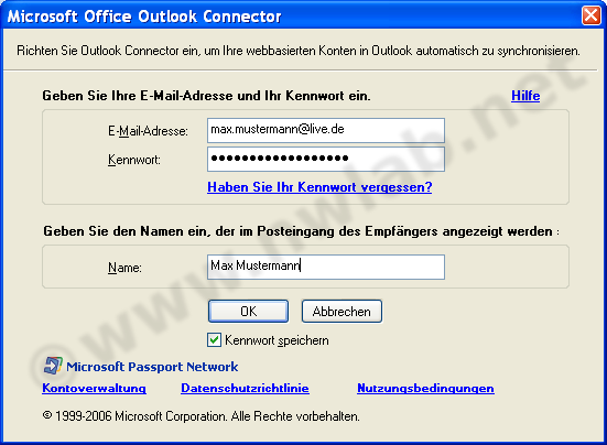 Outlook mit Hotmail einrichten - Outlook Connector :: network lab